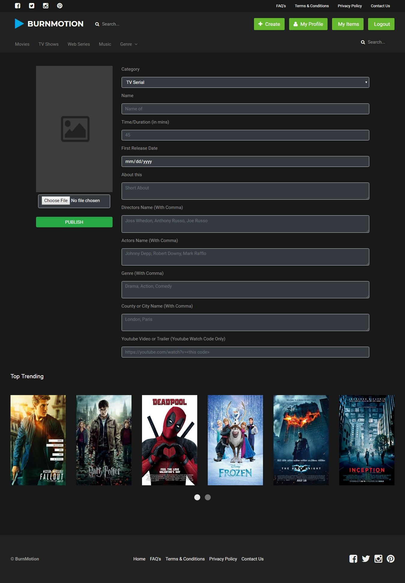BurnMotion - Movies And TV Database PHP Screenshot 5