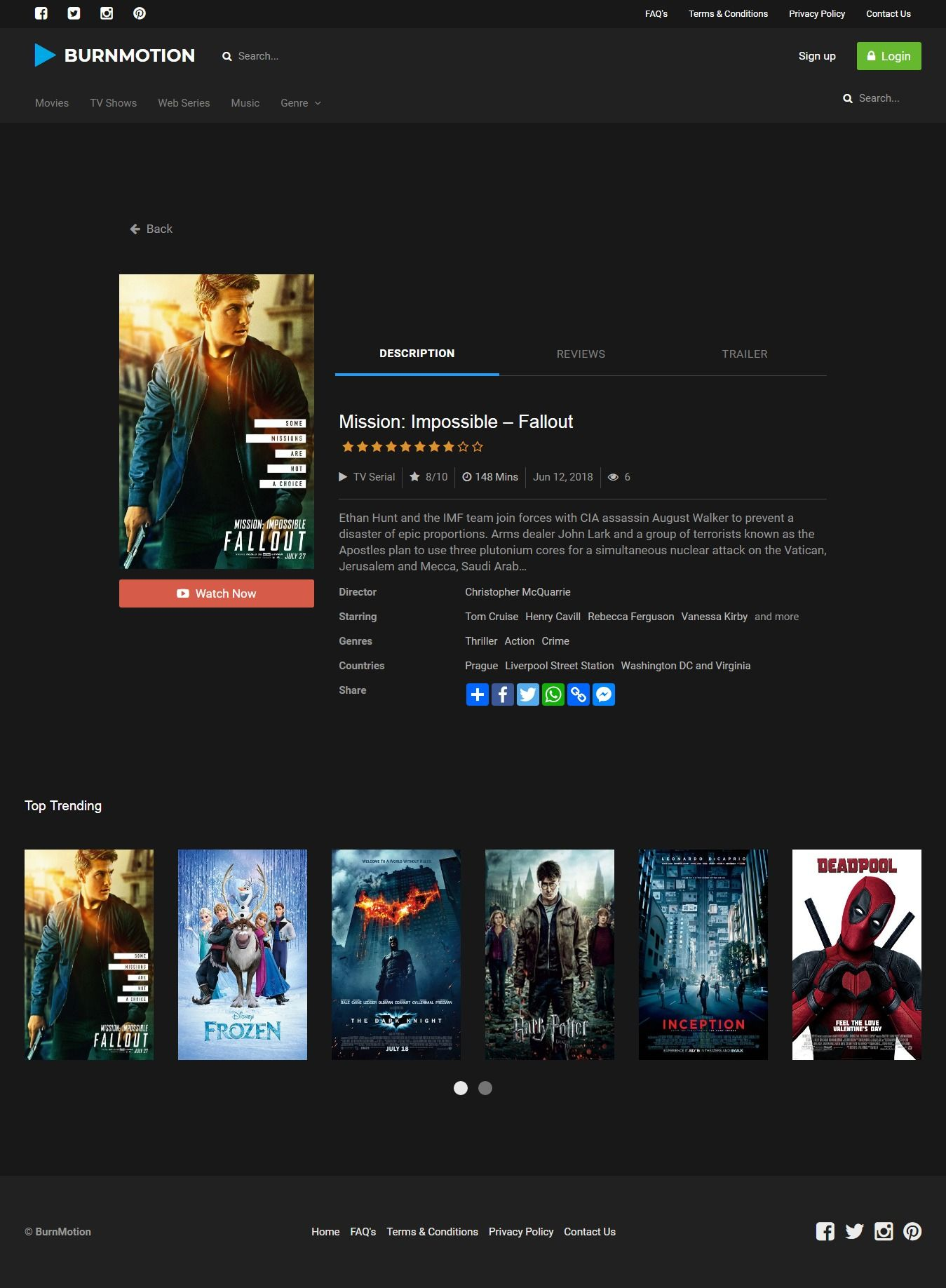 BurnMotion - Movies And TV Database PHP Screenshot 12