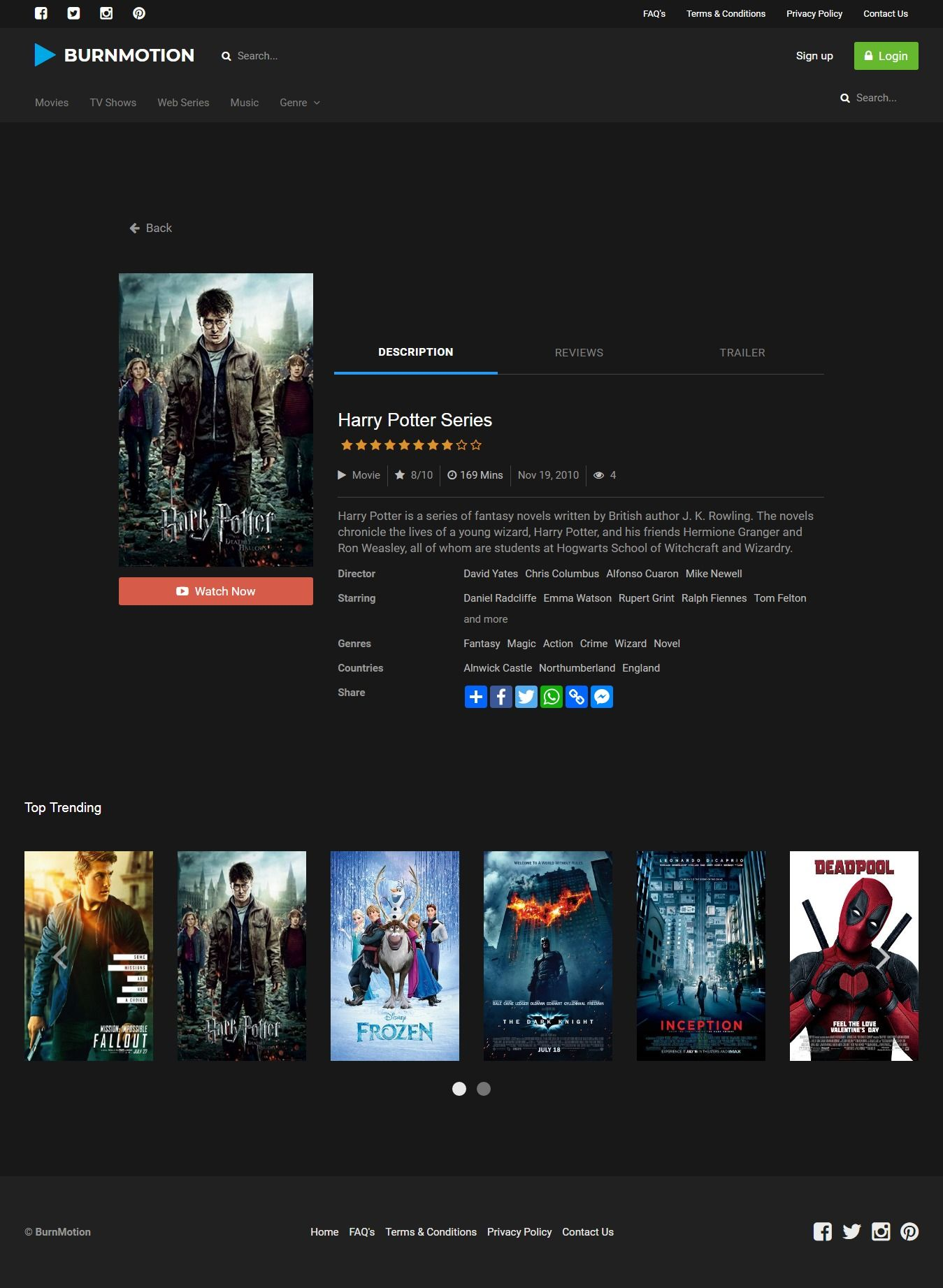 BurnMotion - Movies And TV Database PHP Screenshot 15