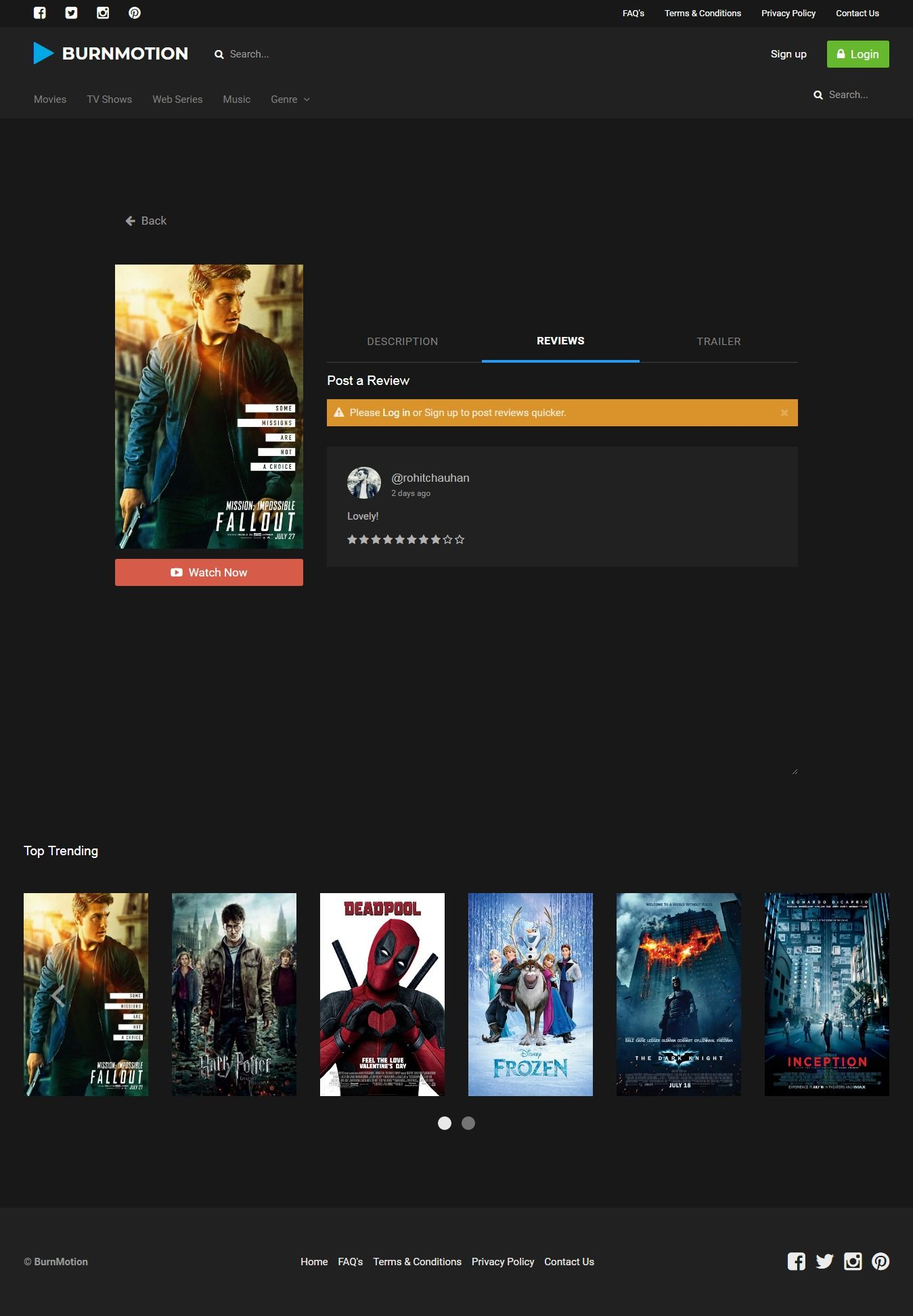 BurnMotion - Movies And TV Database PHP Screenshot 17