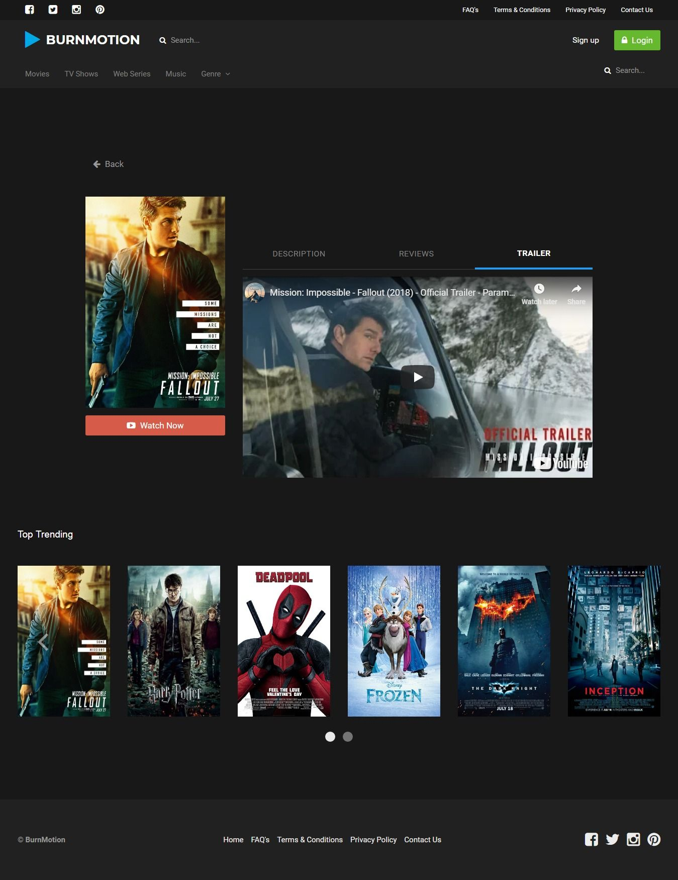 BurnMotion - Movies And TV Database PHP Screenshot 18