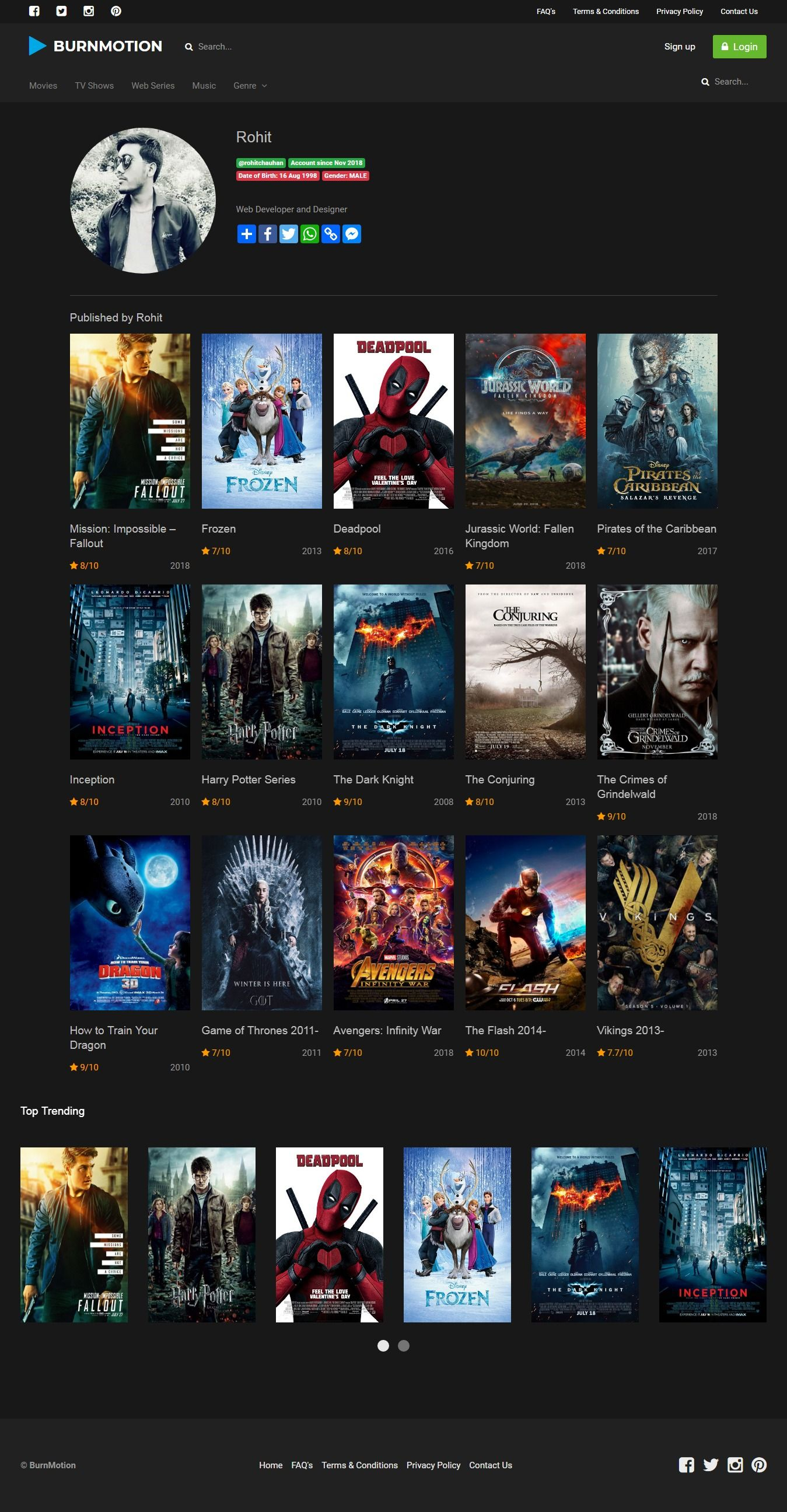 BurnMotion - Movies And TV Database PHP Screenshot 21