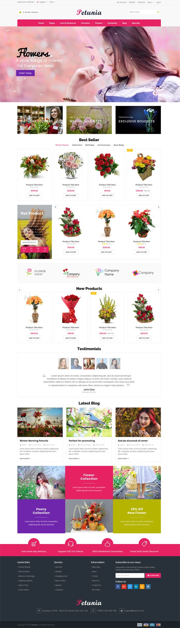 Petunia -Fashion Store Website Template Screenshot 1