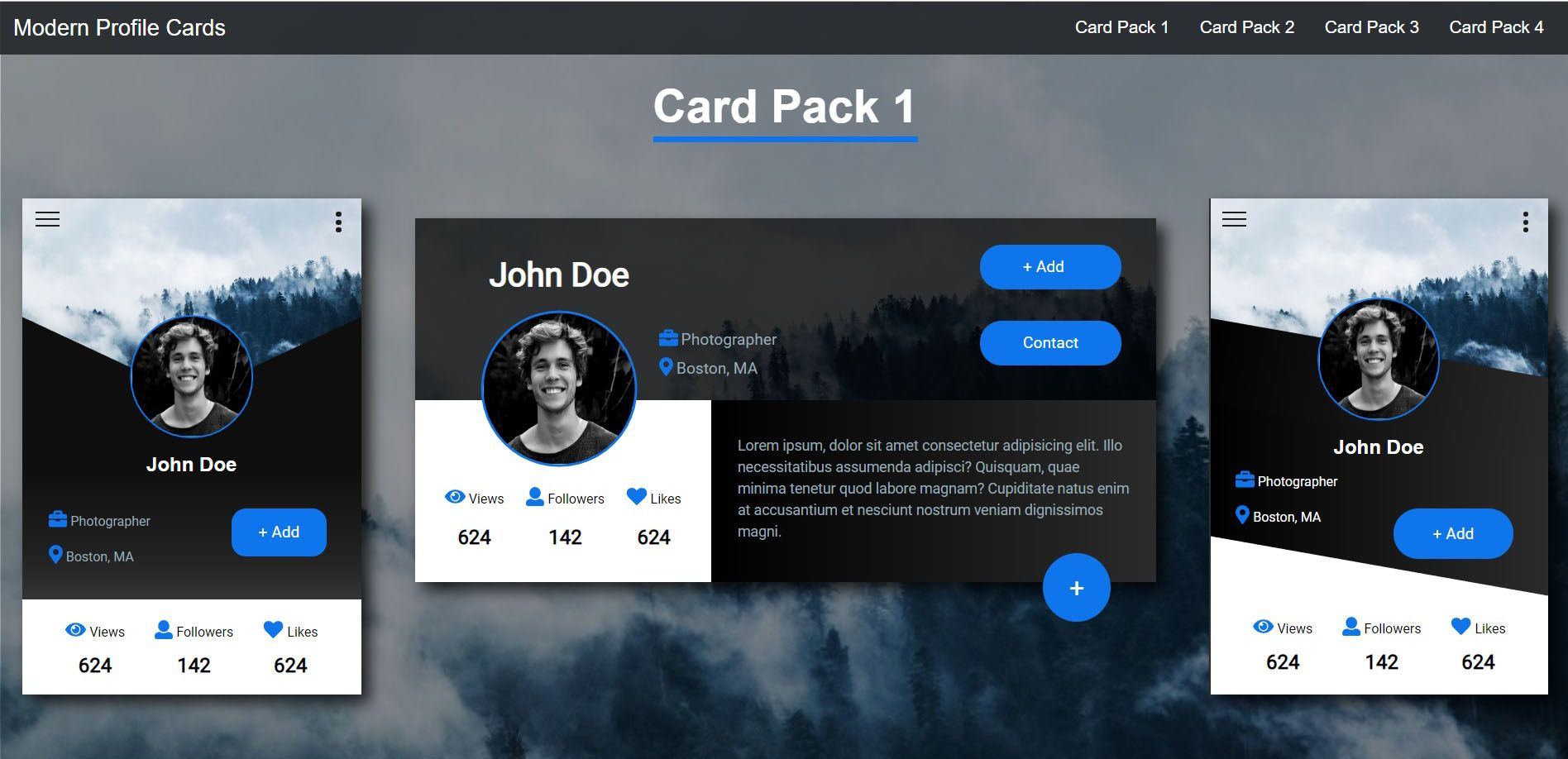 Modern Profile Cards HTML CSS