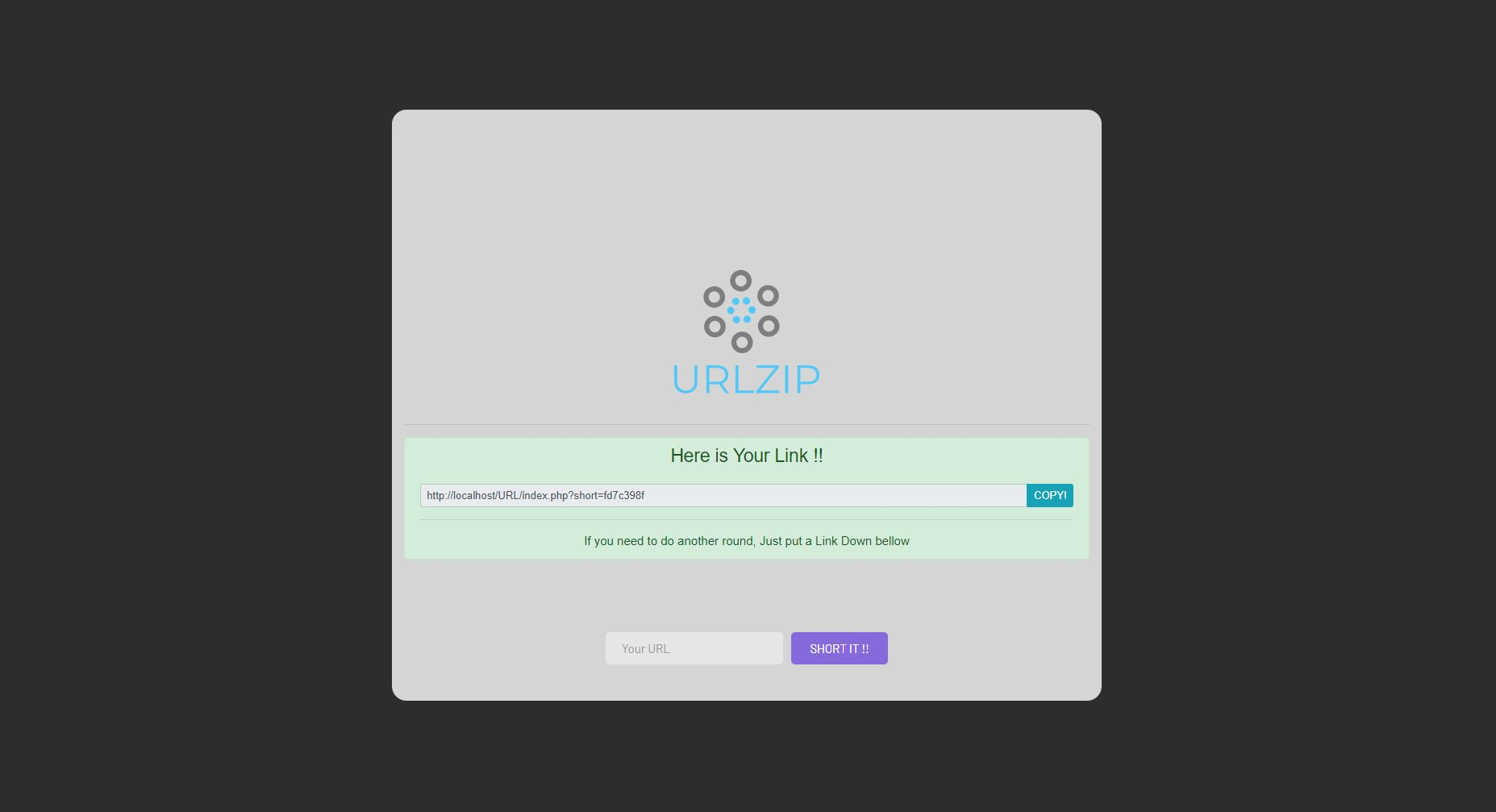 URLZip - URL Shortener With Database PHP Script Screenshot 2