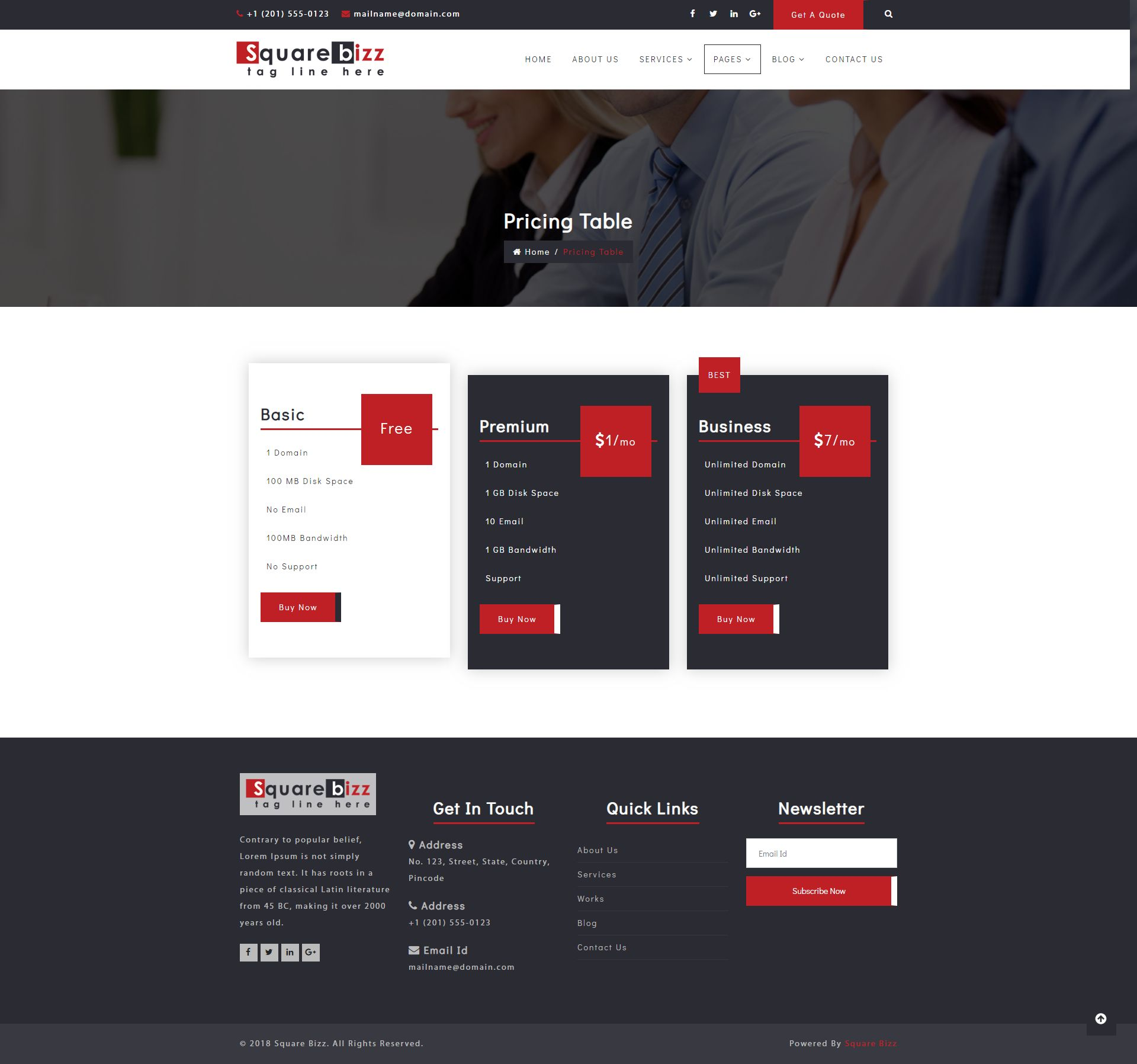 Square Bizz - Consulting and Corporate Template Screenshot 1