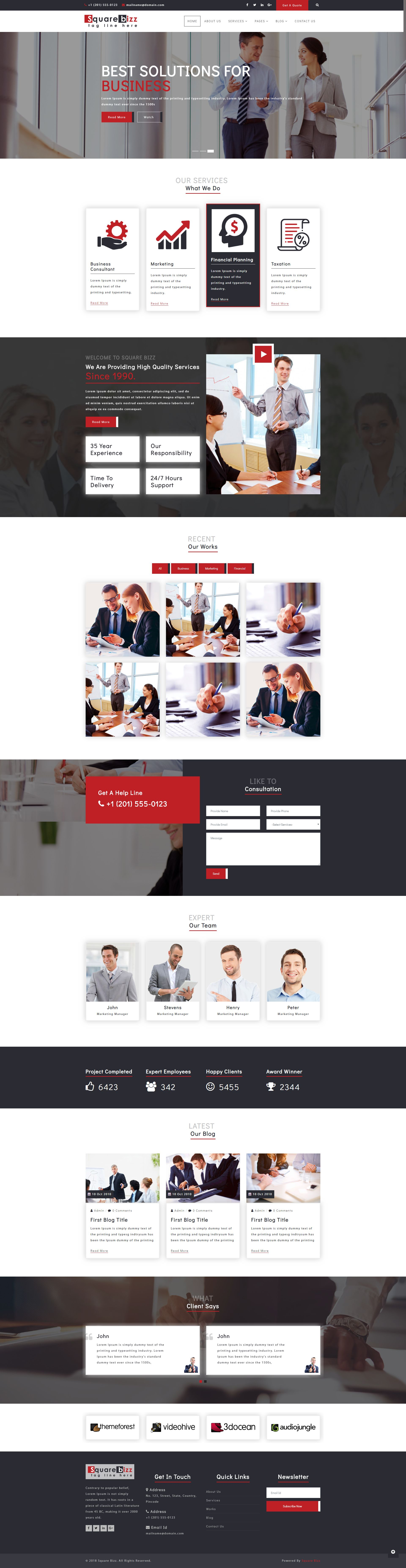 Square Bizz - Consulting and Corporate Template Screenshot 2