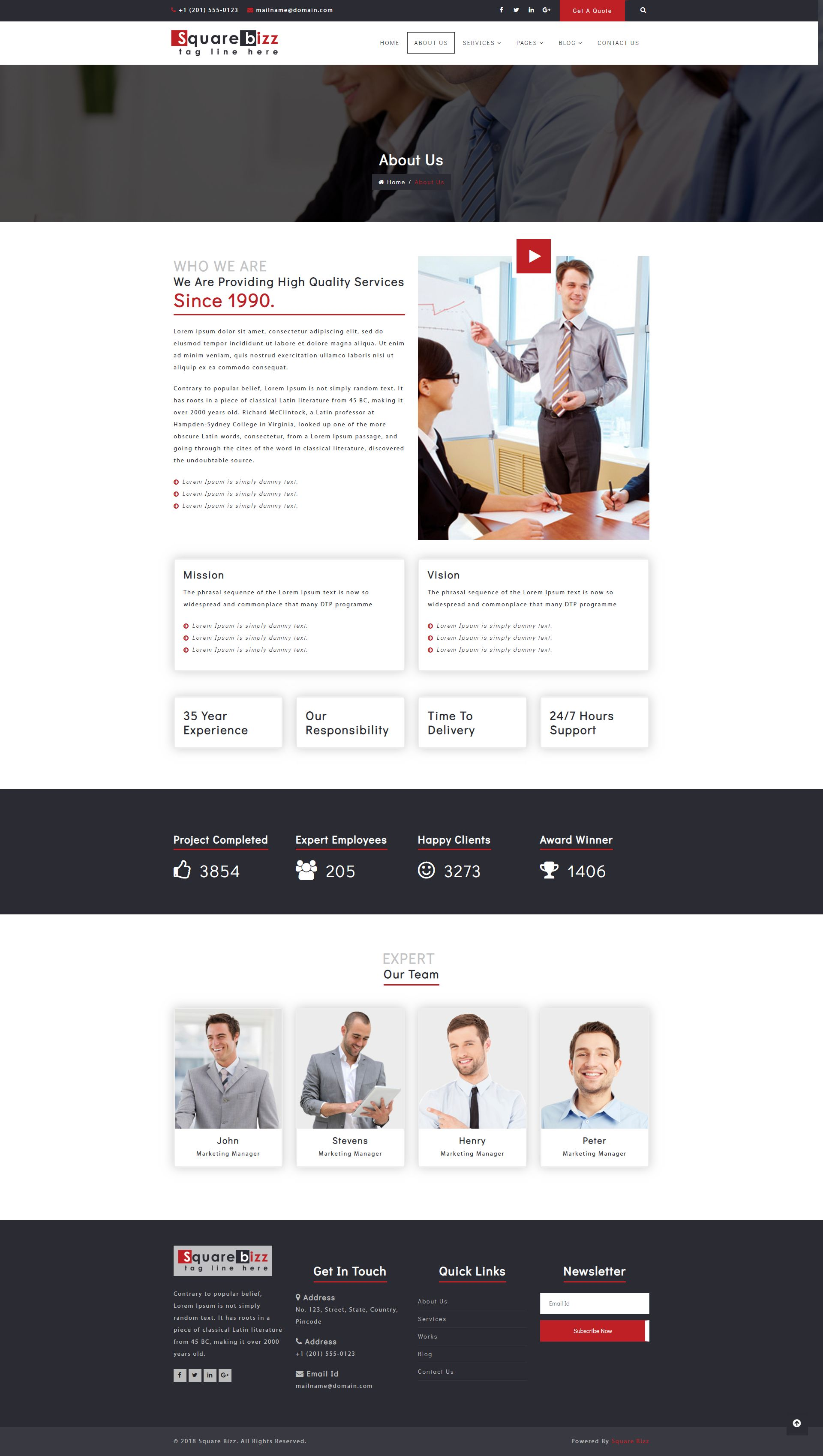 Square Bizz - Consulting and Corporate Template Screenshot 3
