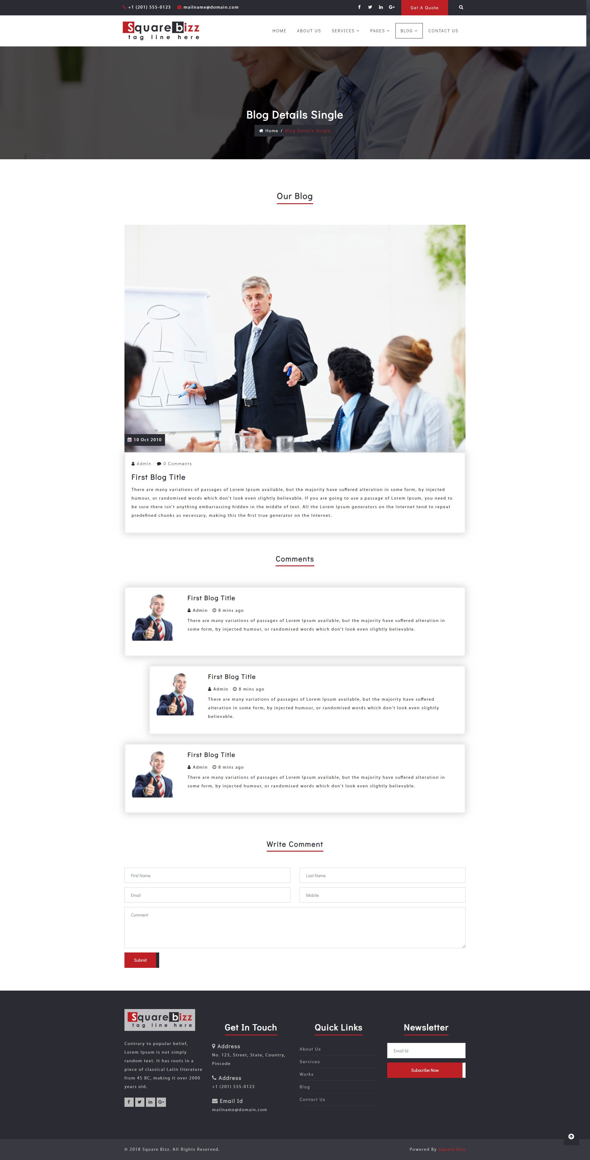 Square Bizz - Consulting and Corporate Template Screenshot 5