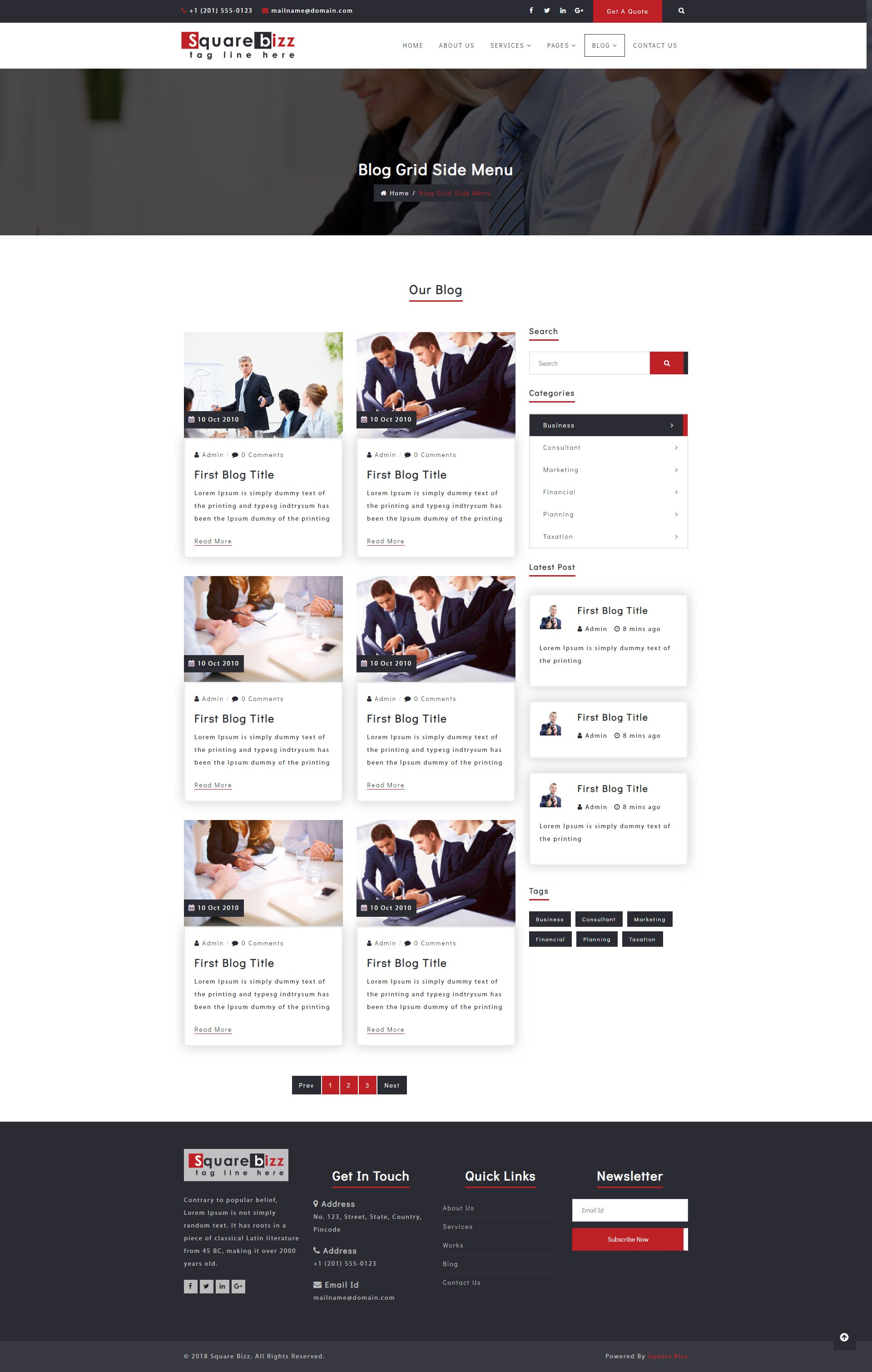 Square Bizz - Consulting and Corporate Template Screenshot 8