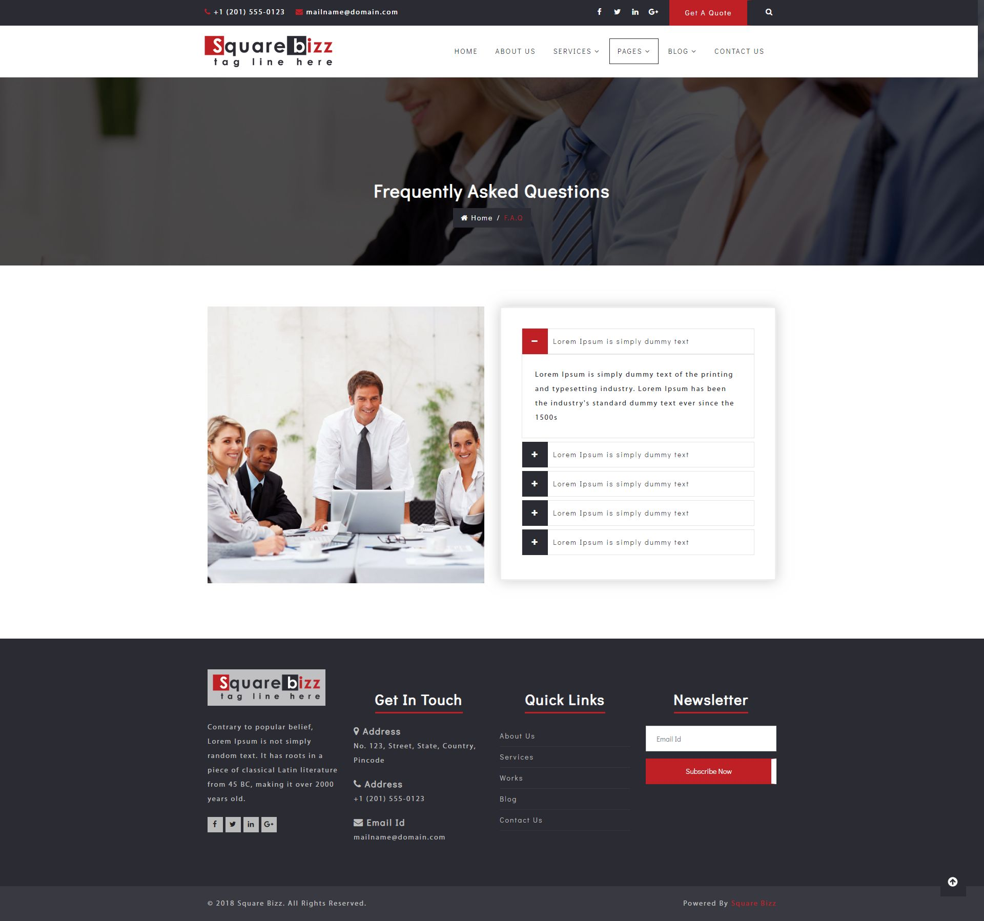 Square Bizz - Consulting and Corporate Template Screenshot 12