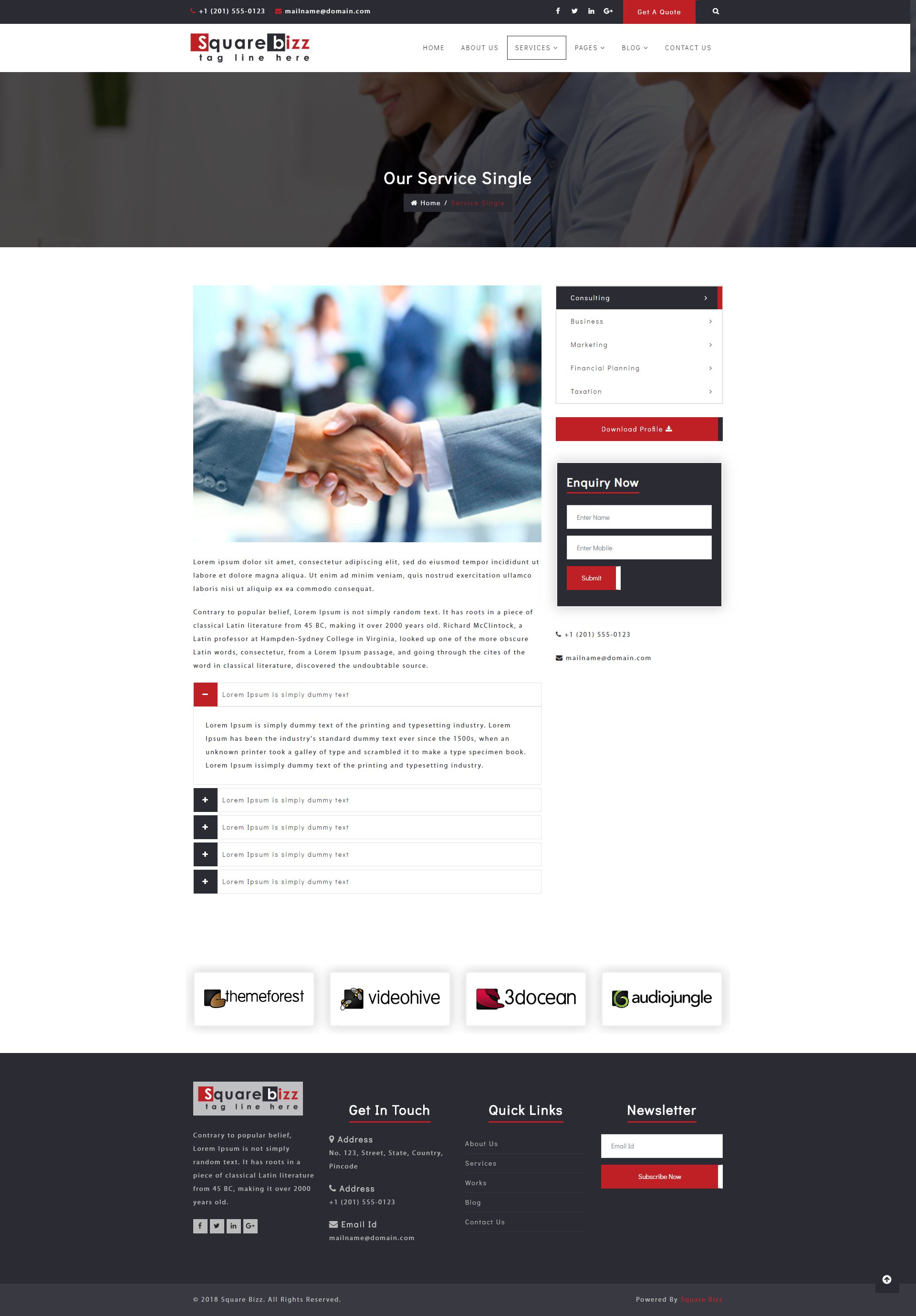 Square Bizz - Consulting and Corporate Template Screenshot 13