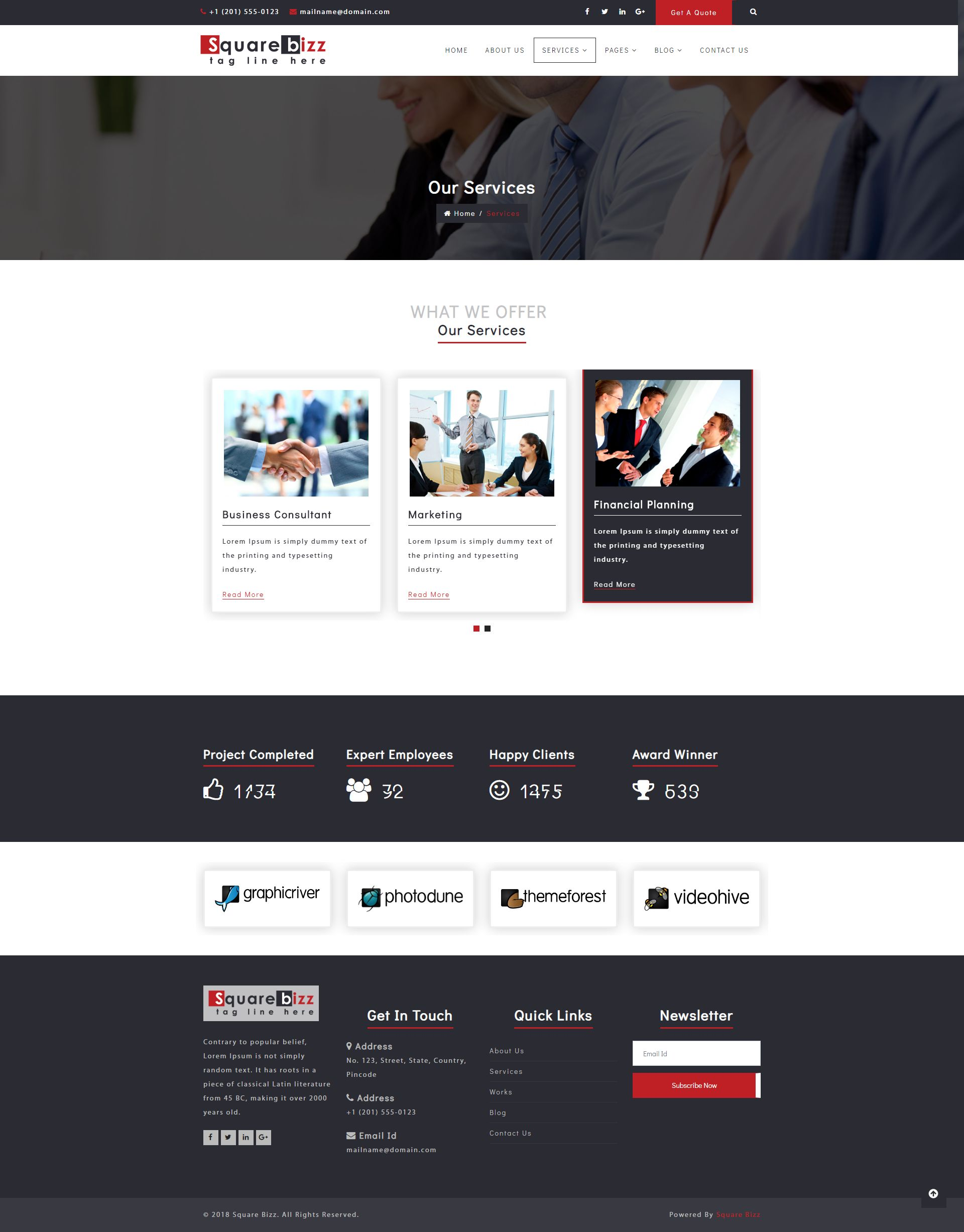 Square Bizz - Consulting and Corporate Template Screenshot 14