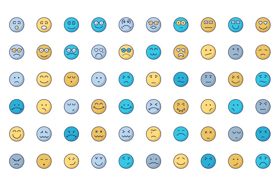 140 Emoticon or Emoji Fill Icons Pack  Screenshot 2