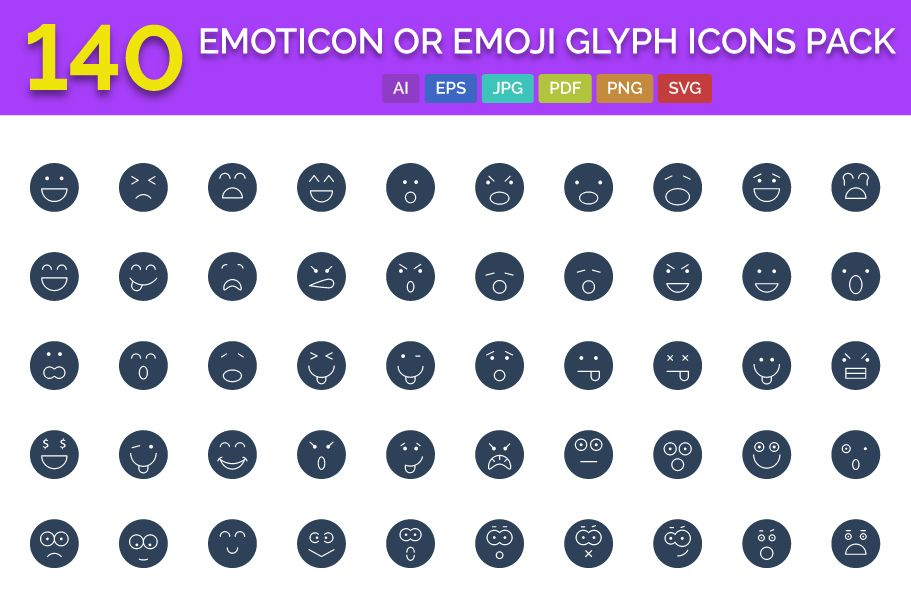 140 Emoticon or Emoji Glyph Icons Pack  Screenshot 1