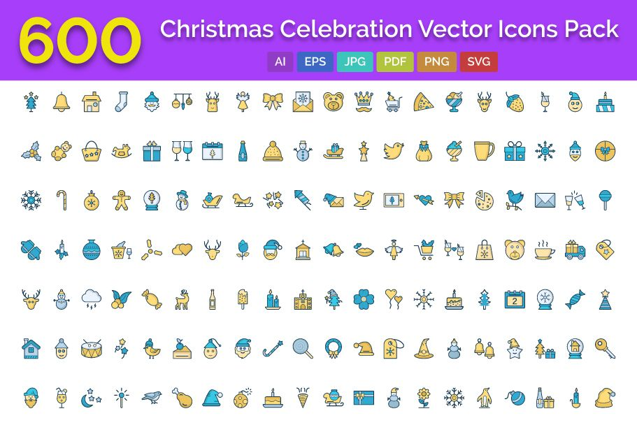 600 Christmas Celebration Vector Icons Pack Screenshot 1