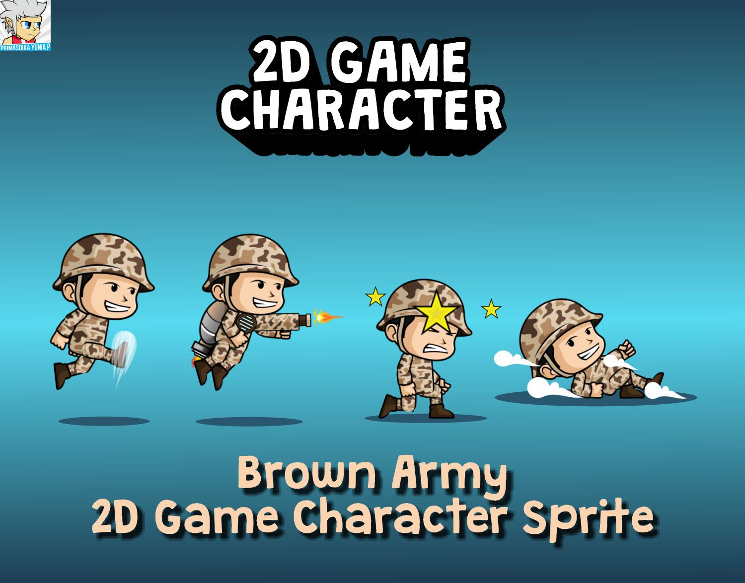 Brown Army 2D Game Character Sprite Screenshot 1