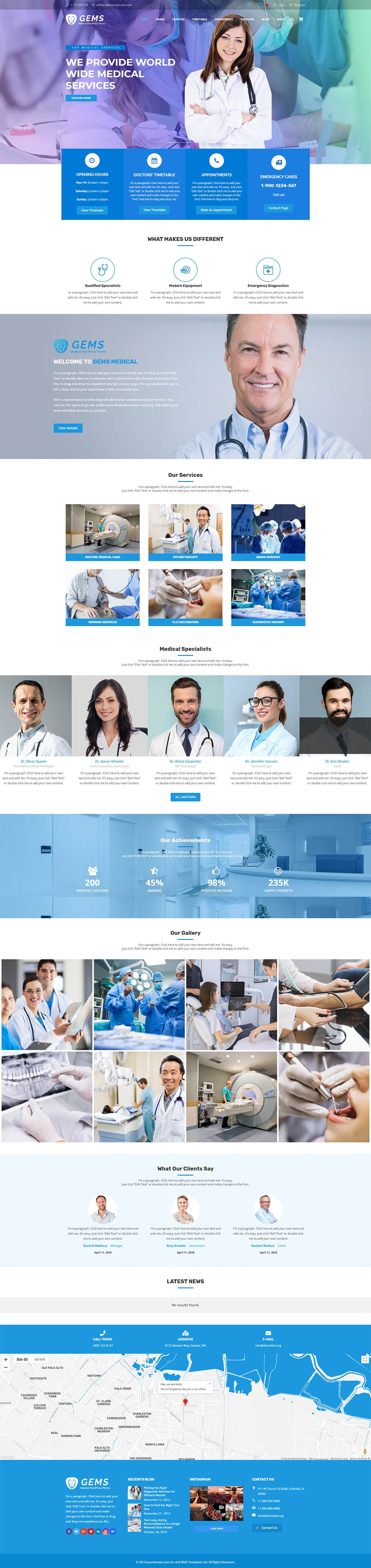 Gems - Medical Drag And Drop WordPress Theme Screenshot 1
