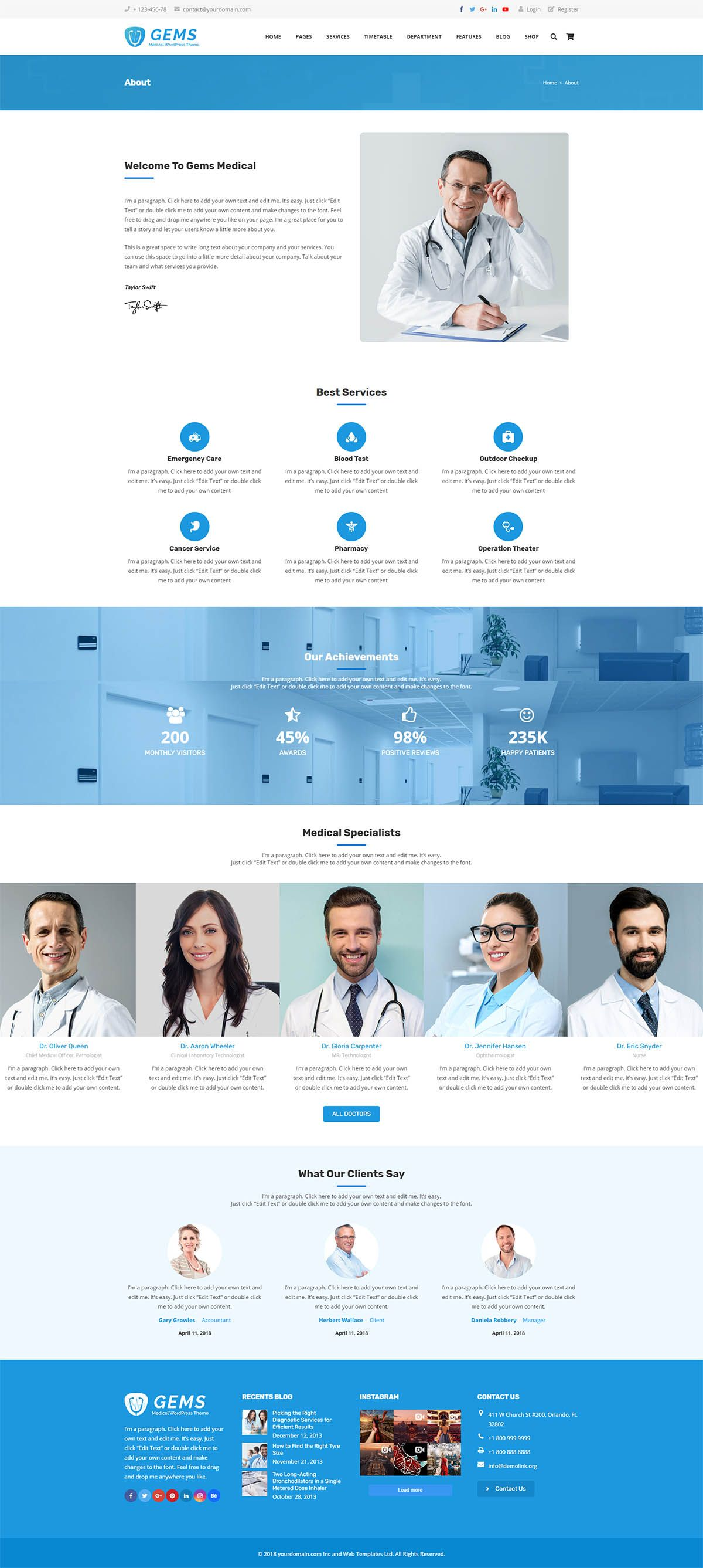 Gems - Medical Drag And Drop WordPress Theme Screenshot 2