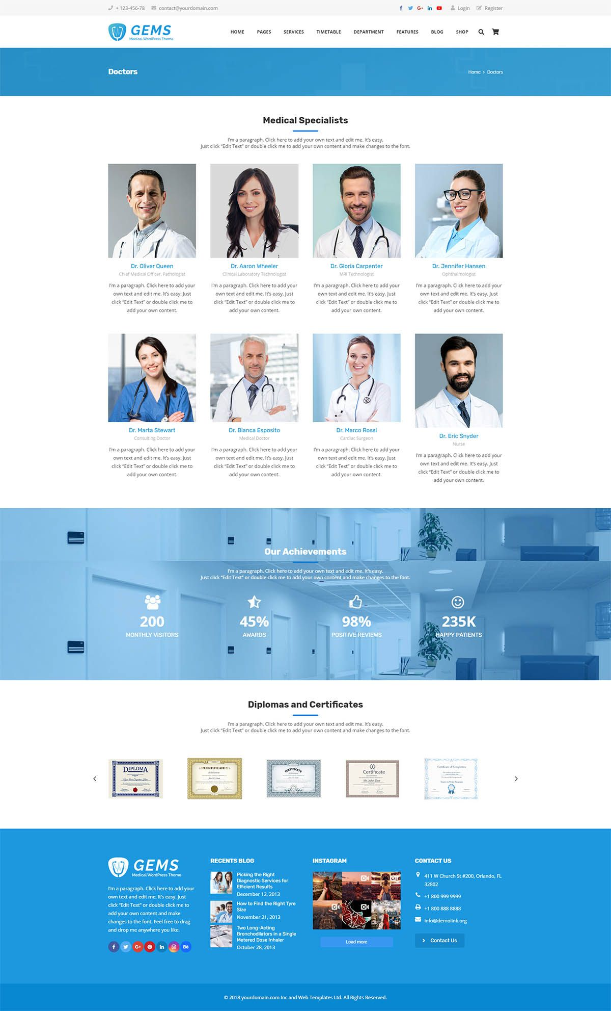 Gems - Medical Drag And Drop WordPress Theme Screenshot 3