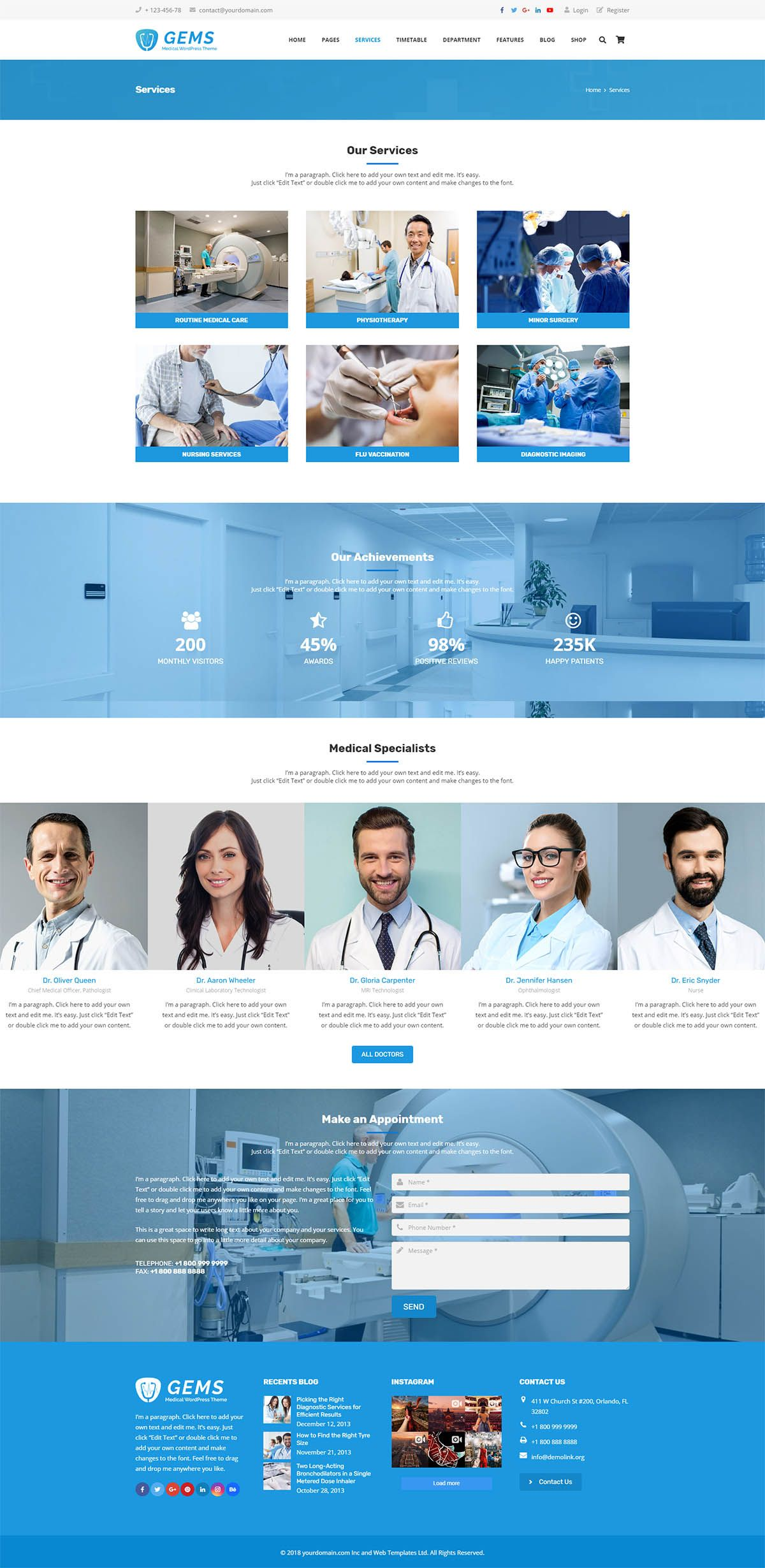 Gems - Medical Drag And Drop WordPress Theme Screenshot 4