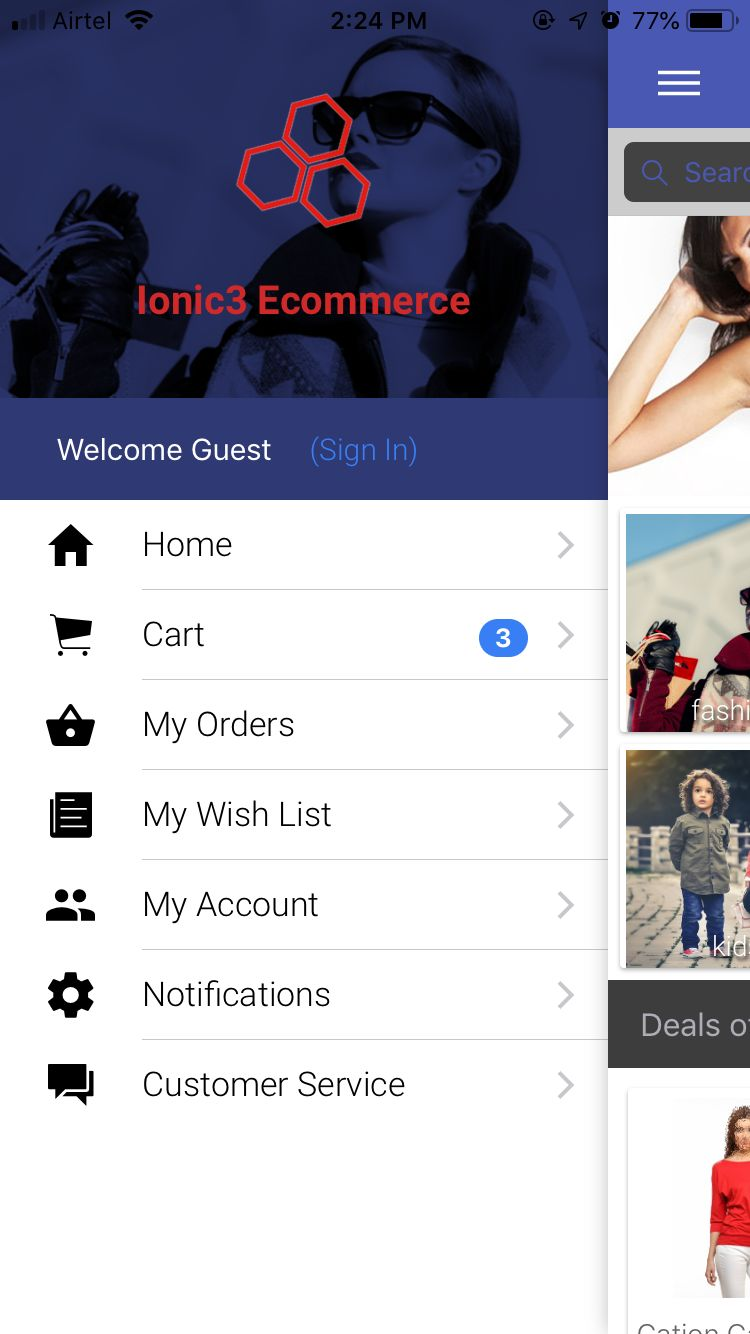 Ionic 3 Ecommerce App Theme Screenshot 2