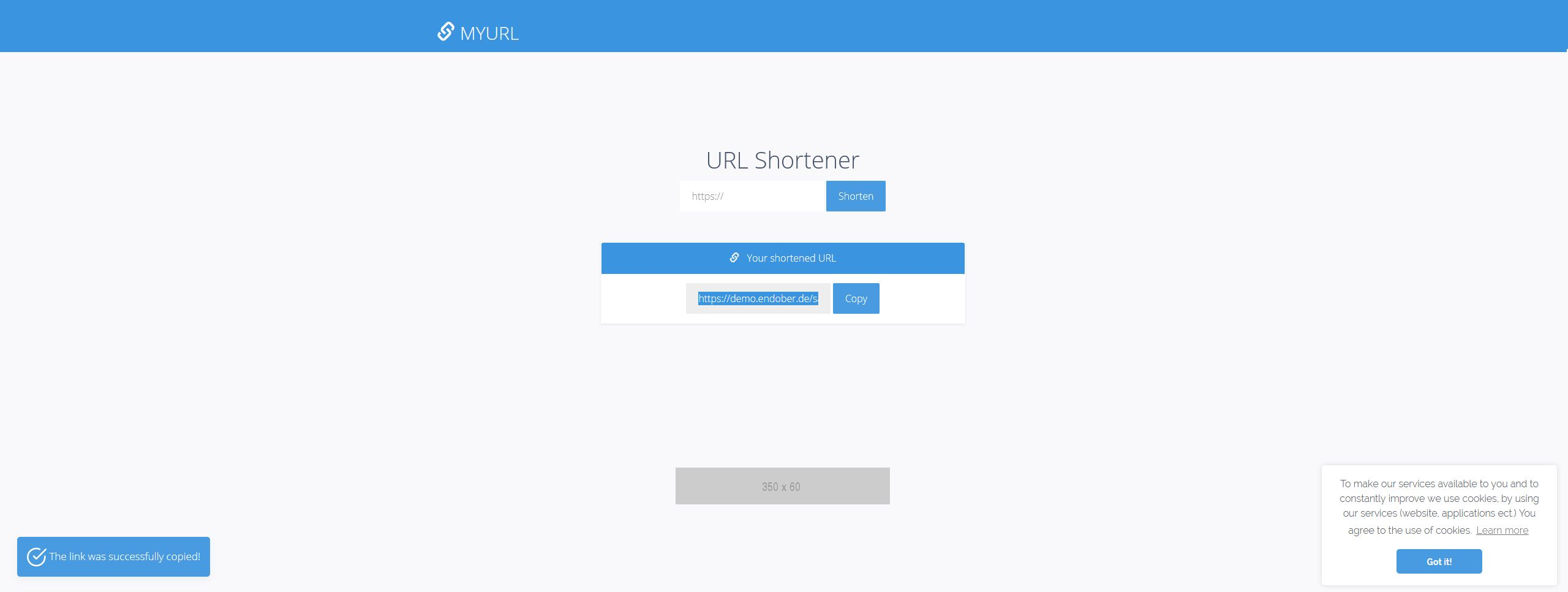 myURL - Private URL Shortner PHP Script Screenshot 2