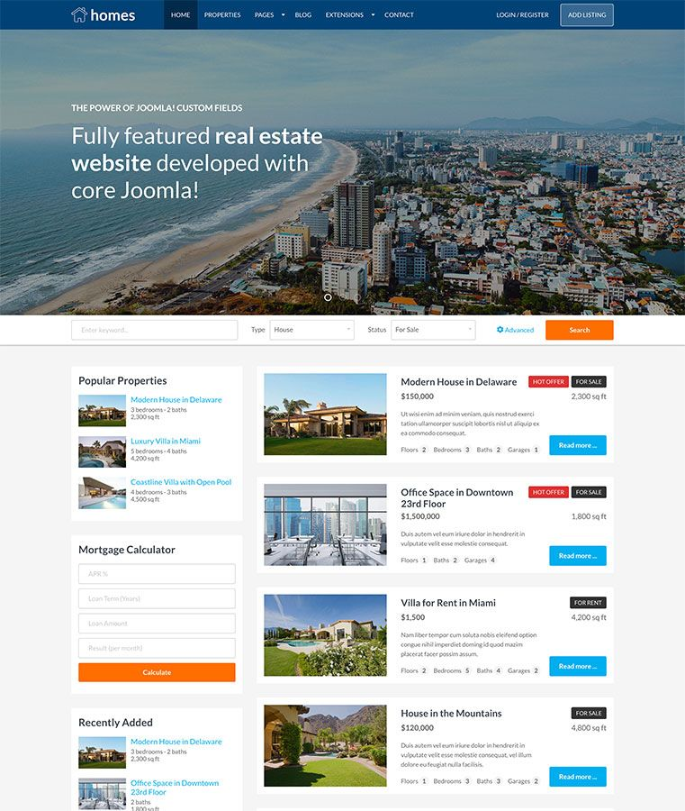 Hot Homes - Joomla Template Screenshot 1