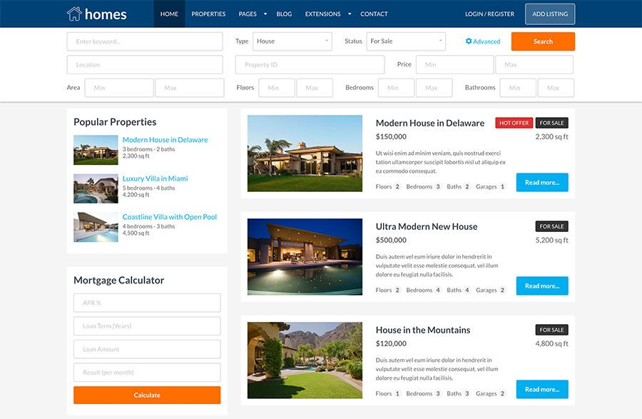 Hot Homes - Joomla Template Screenshot 5