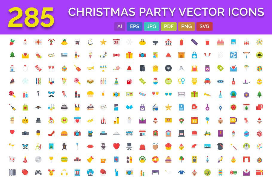 285 Christmas Party Vector Icons Screenshot 1