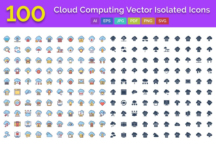 100 Cloud Computing Vector Isolated Icons Pack Screenshot 1