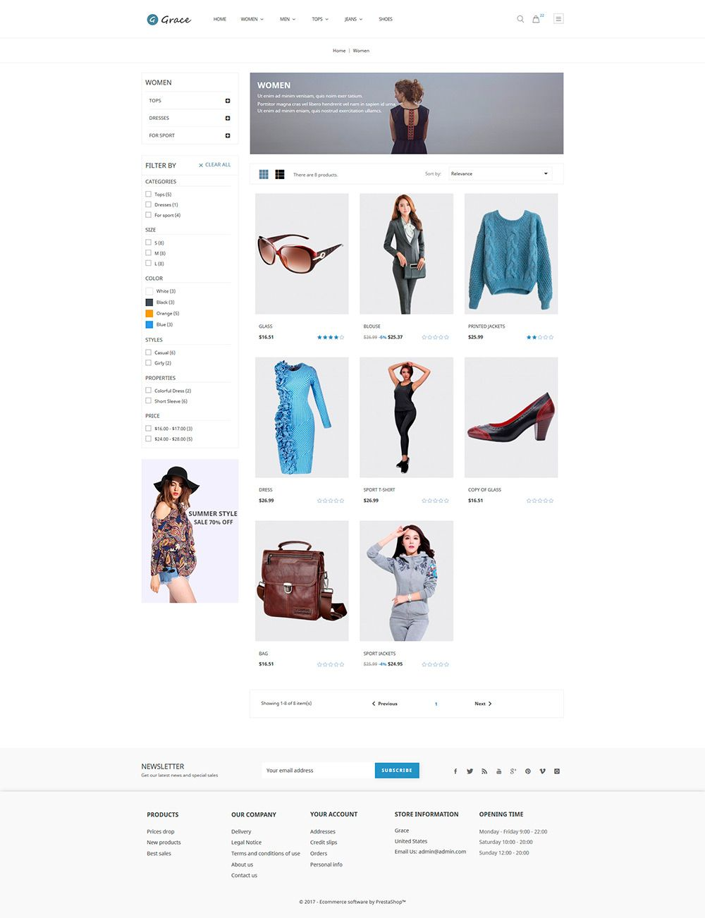 Grace Fashion - PrestaShop Theme Screenshot 2