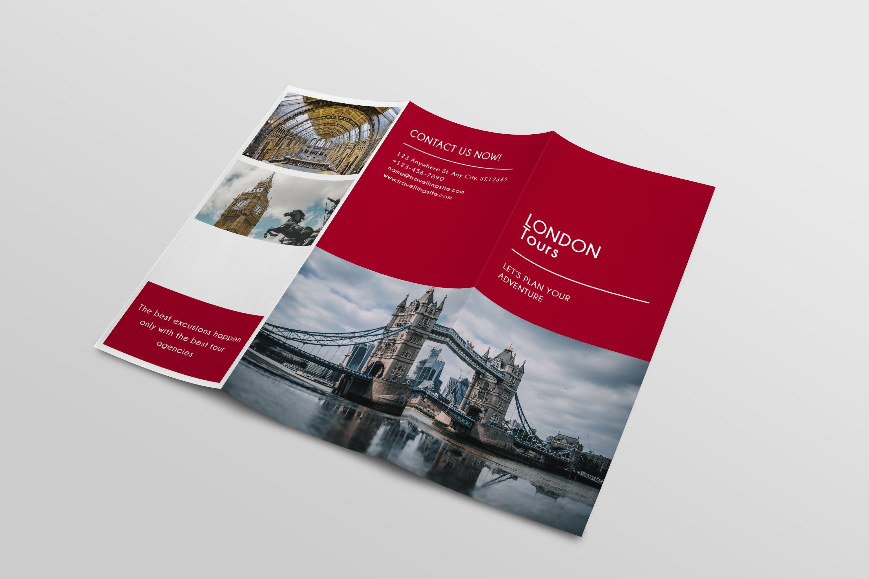 Trifold Agency Travel Brochure Template Screenshot 2
