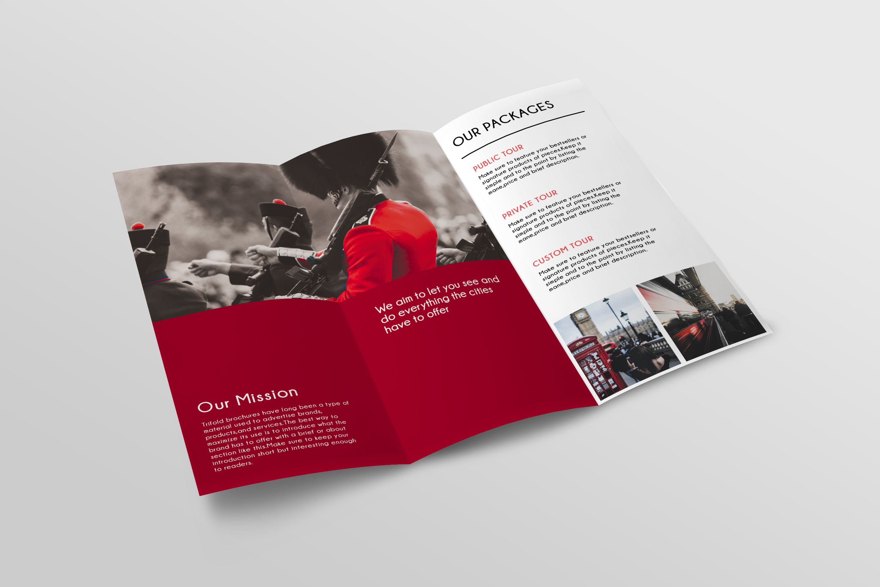 Trifold Agency Travel Brochure Template Screenshot 3