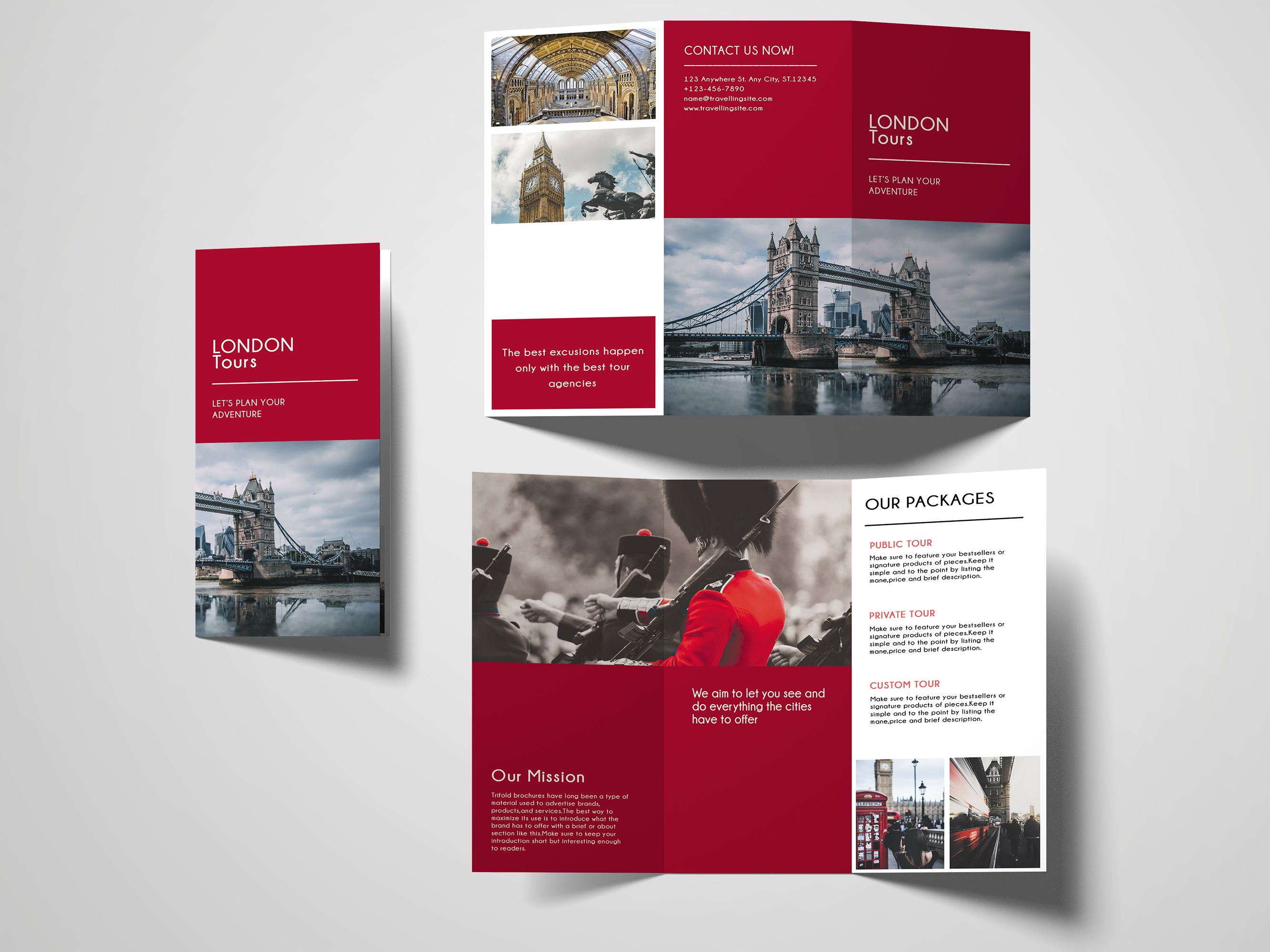 Trifold Agency Travel Brochure Template Screenshot 4