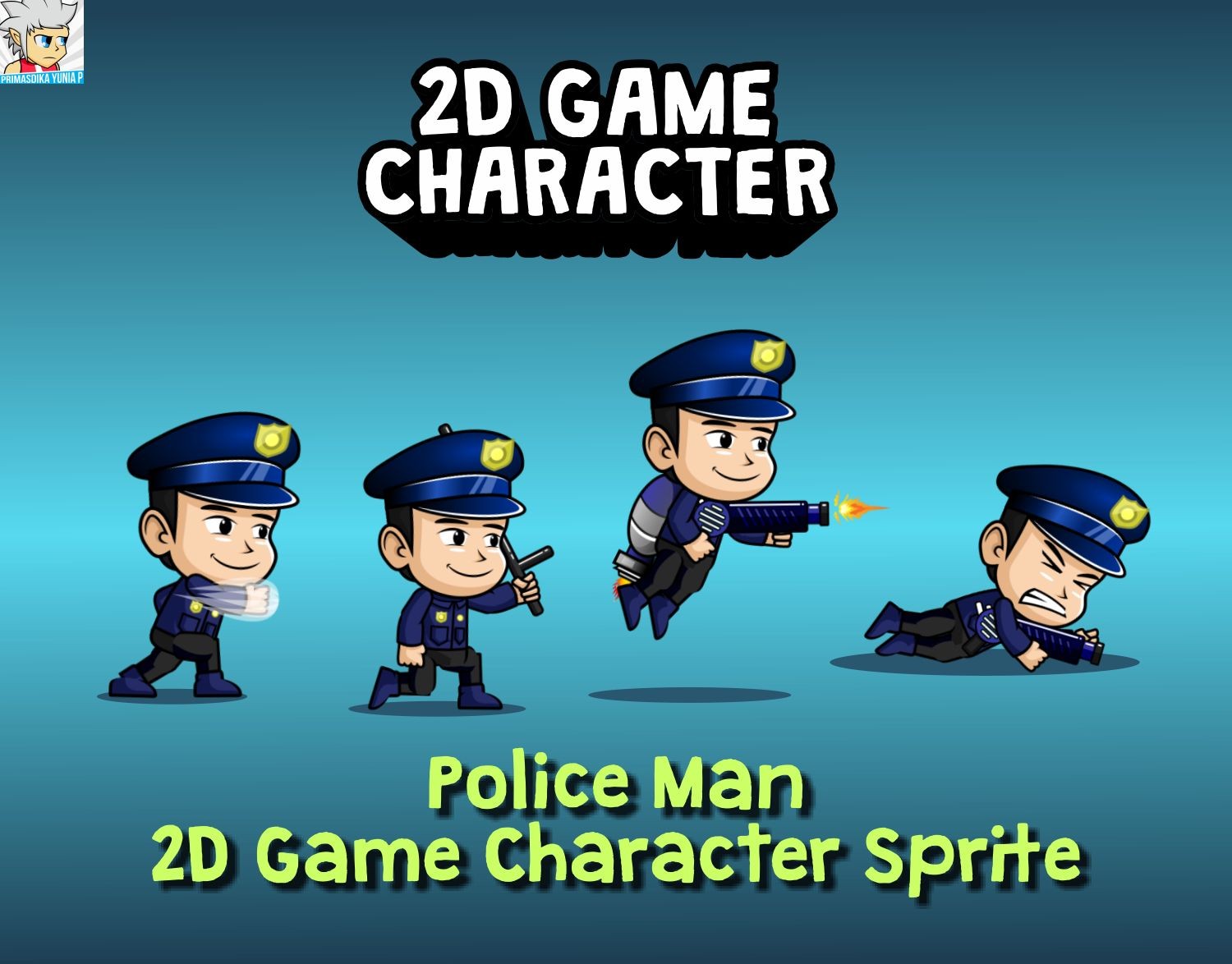 Police Man 2D Game Character Sprite Screenshot 1