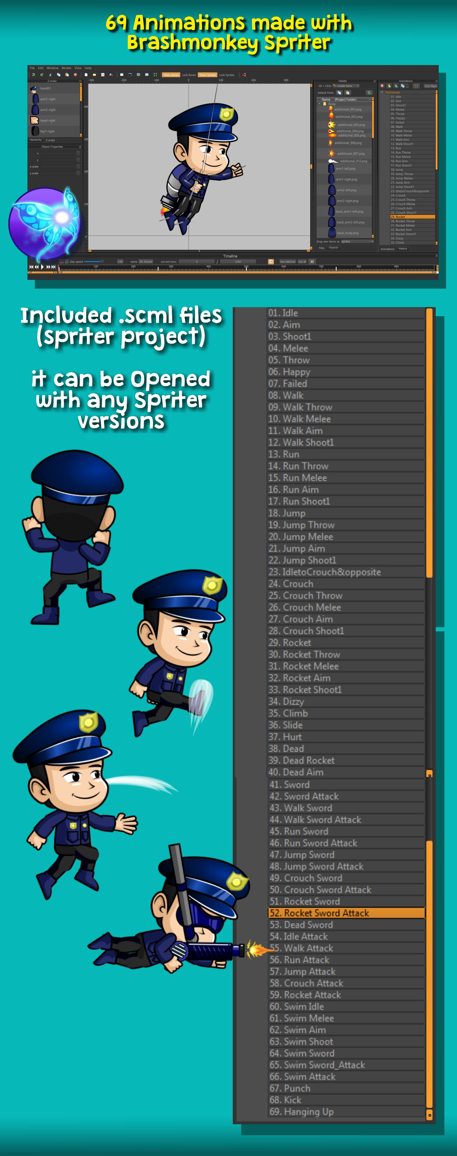 Police Man 2D Game Character Sprite Screenshot 5