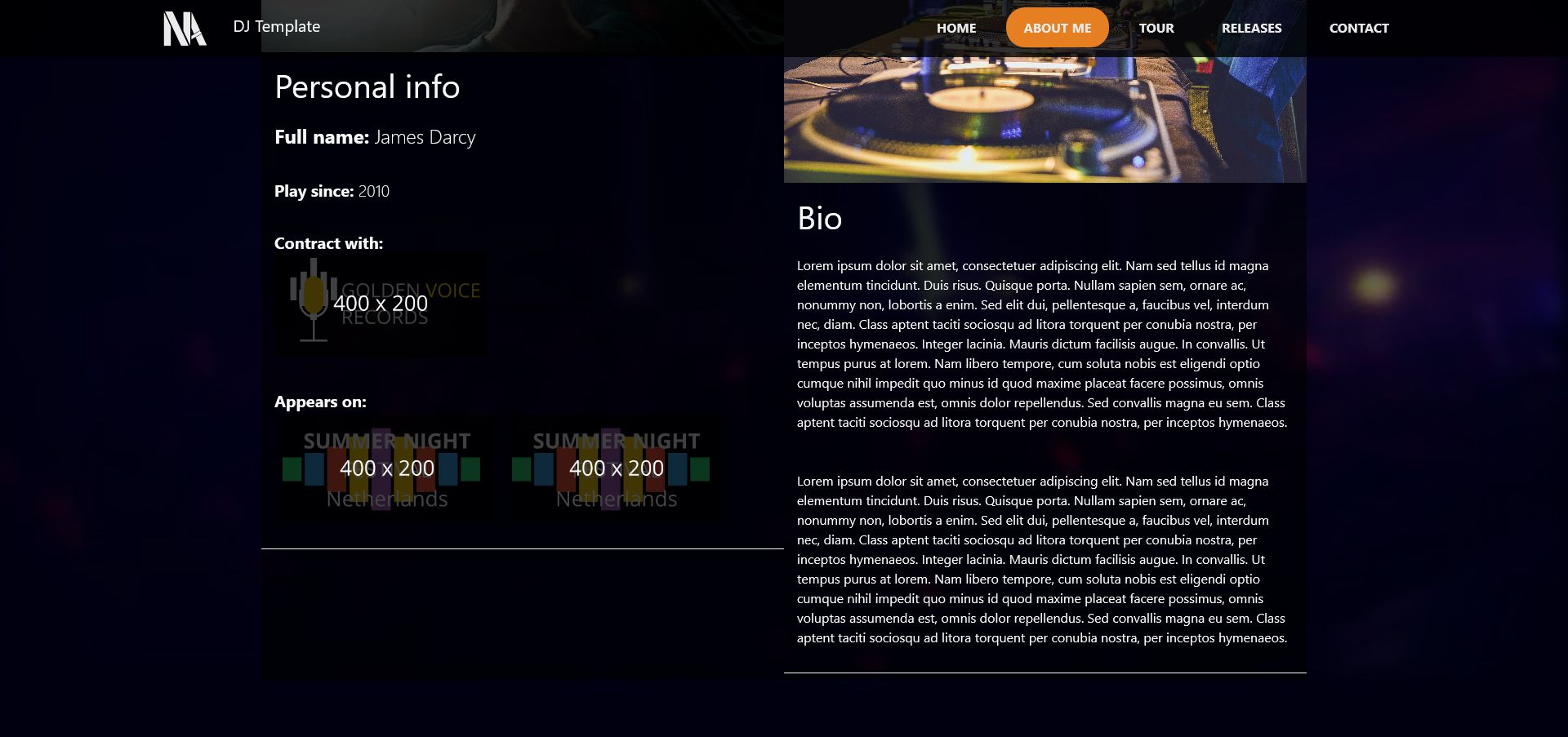 Music - Person Page Responsive Template Screenshot 1
