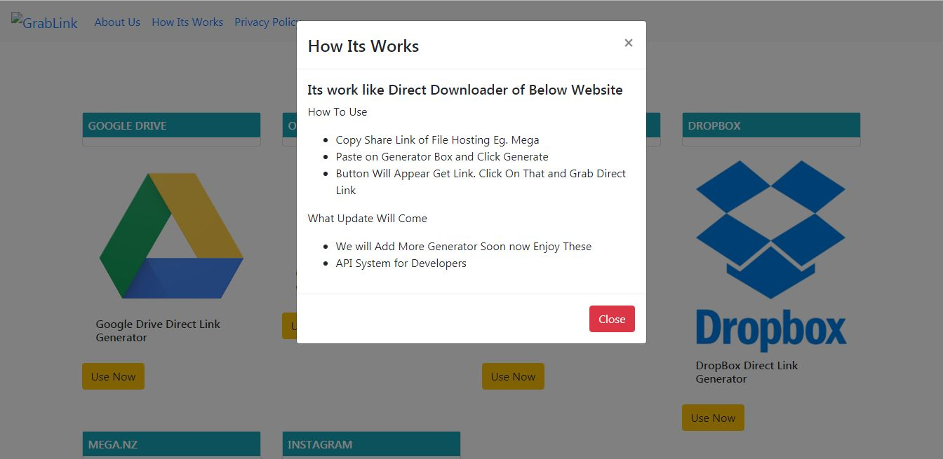 GrabLink - Direct Download Link Generator PHP