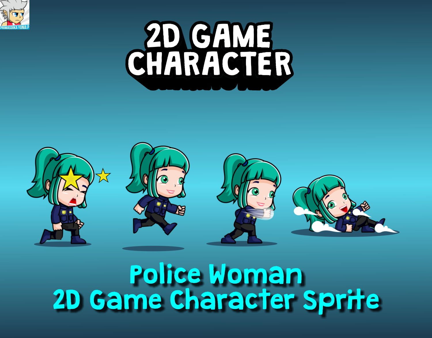 Police Woman 2D Game Character Sprite Screenshot 1