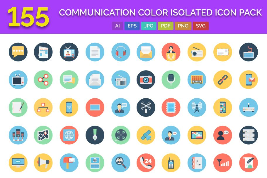 155 Communication Color Isolated Vector icon Pack Screenshot 1