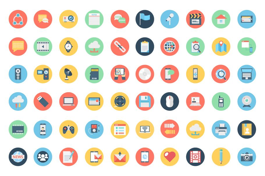 155 Communication Color Isolated Vector icon Pack Screenshot 2
