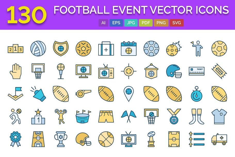 130 Football Event Vector Icons Screenshot 1