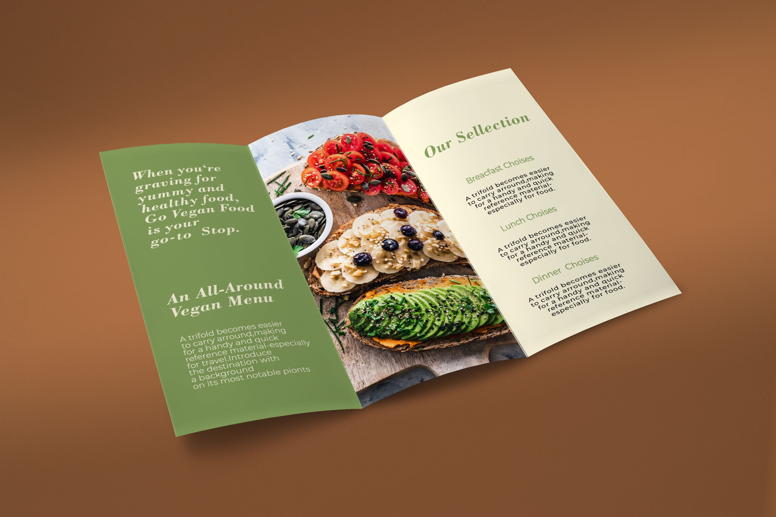 Trifold Vegan Food Brochure - 2 Templates Screenshot 1
