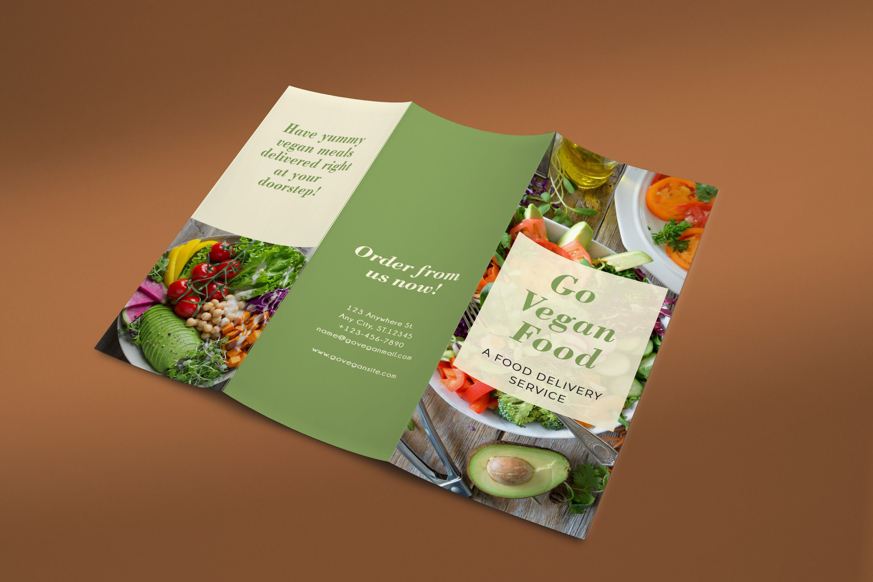 Trifold Vegan Food Brochure - 2 Templates Screenshot 2