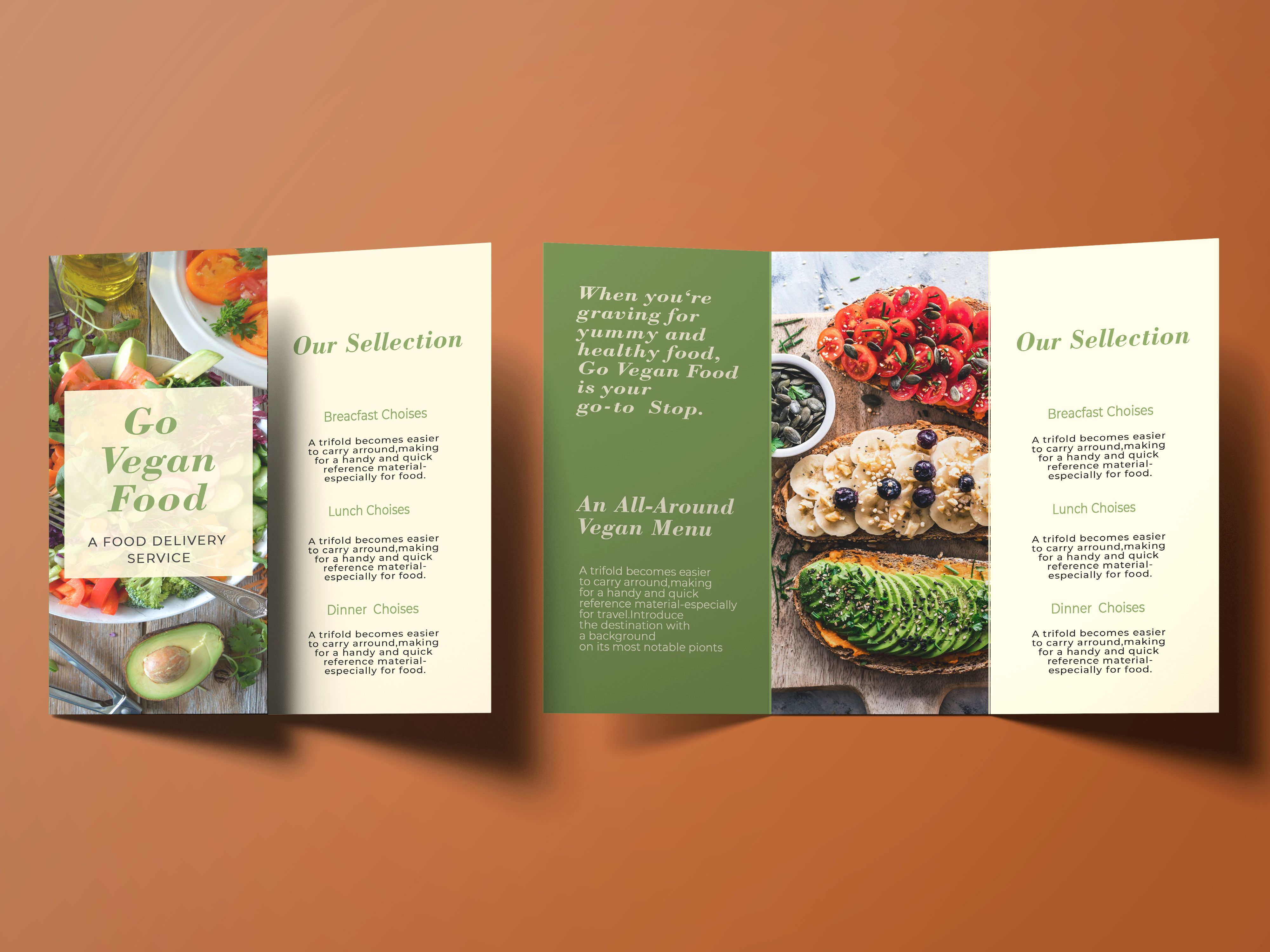 Trifold Vegan Food Brochure - 2 Templates Screenshot 4