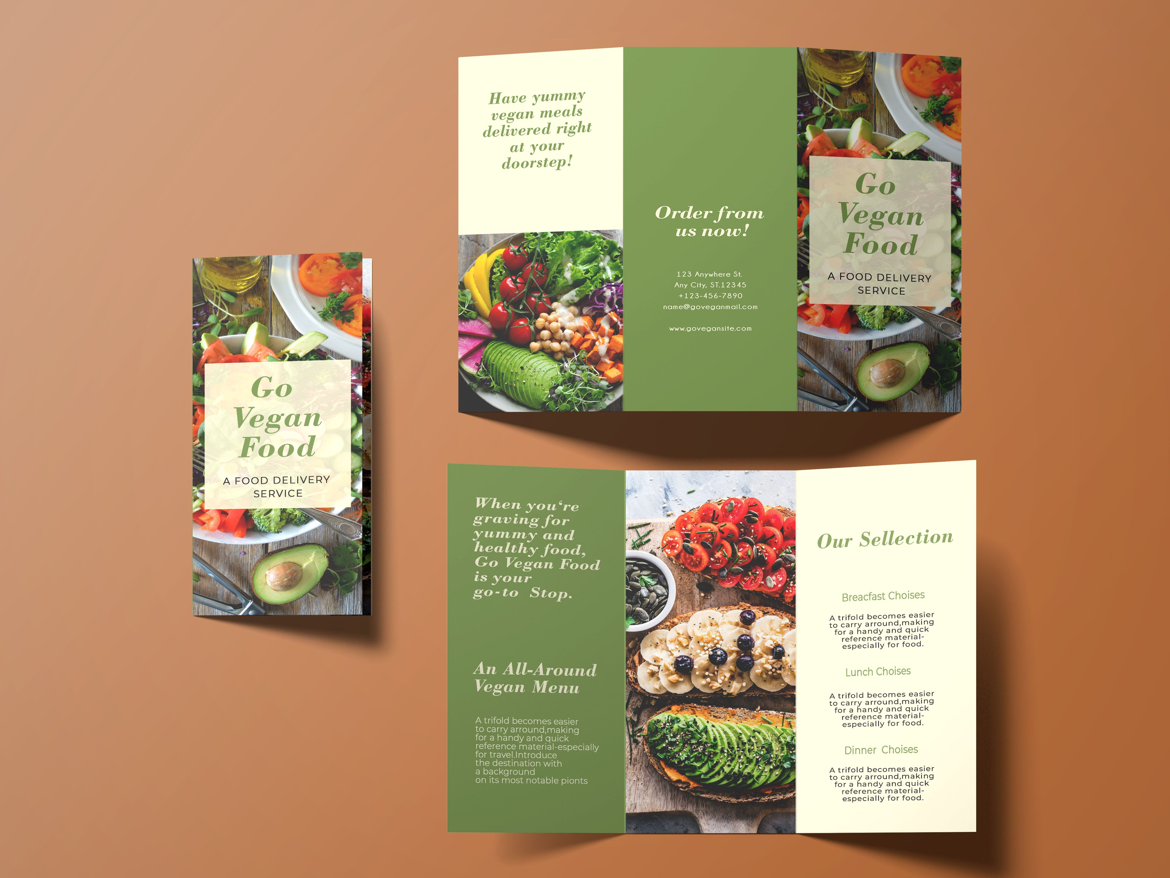 Trifold Vegan Food Brochure - 2 Templates Screenshot 5