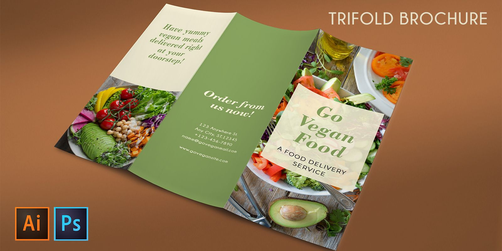 Trifold Vegan Food Brochure - 2 Templates Screenshot 6