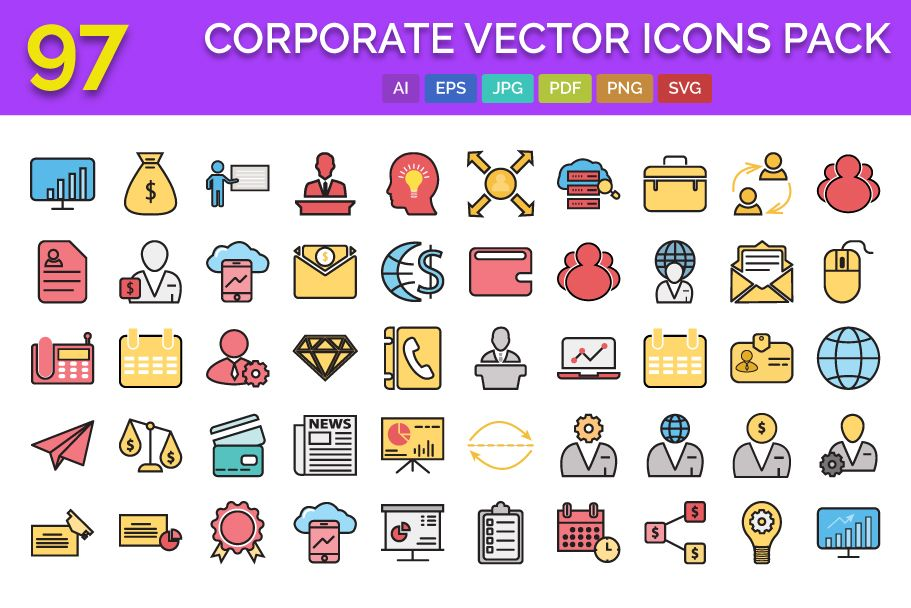 97 Corporate Vector Icons Pack  Screenshot 1