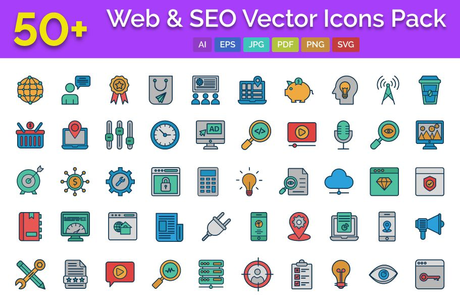 50 Web and SEO Vector Icons pack Screenshot 1